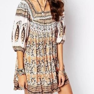 Free People Ivory Combo Snap Out Of It Casual Dres